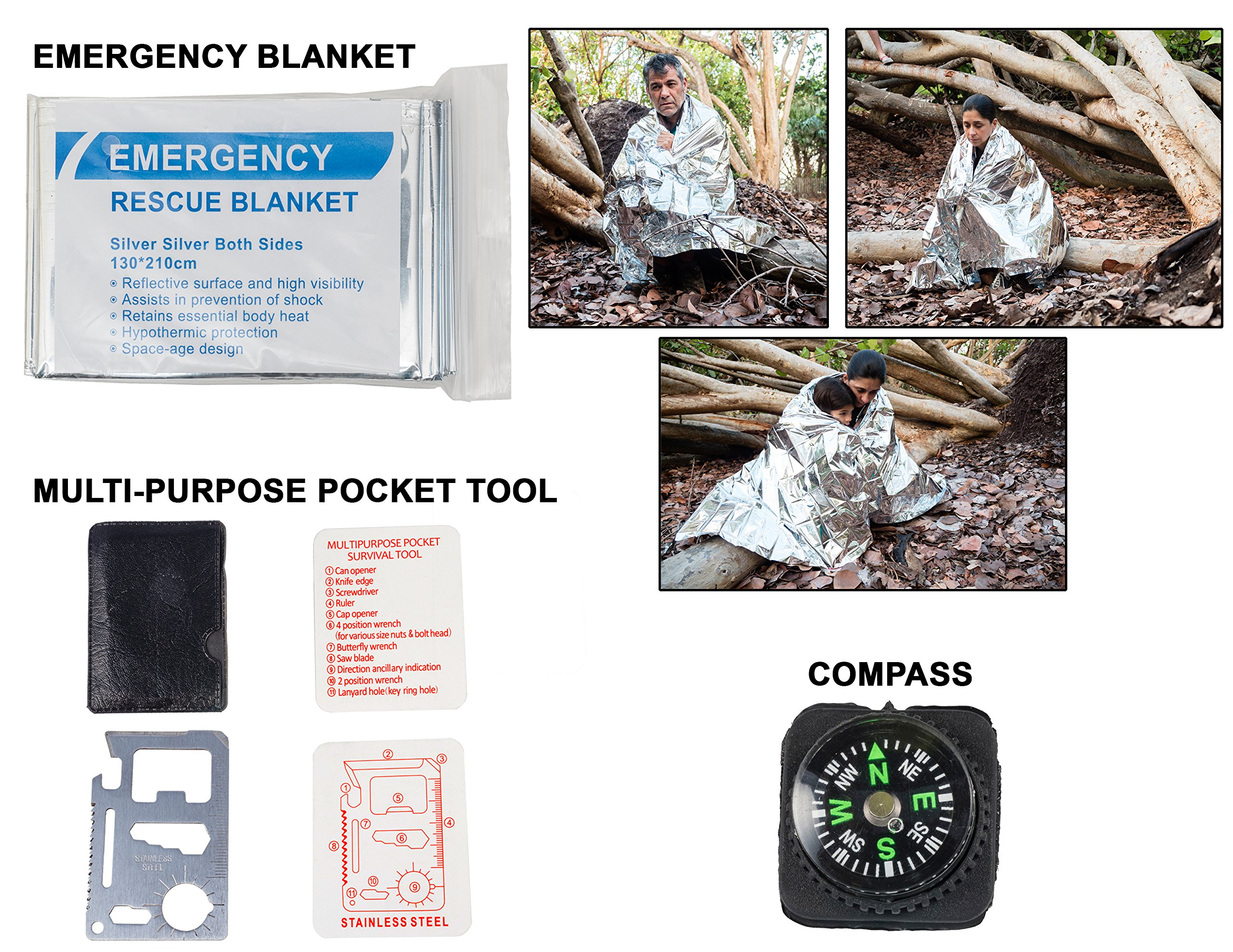 Emergency Survival Kit Bundle.11 Items. Pocket size. Essential Camping Survival Gear, Folding knife, Fire Starter, Compass, Paracord Survival Bracelet, Emergency Blanket, Whistle, Ebook, and more by Booyah Basix (Image #6)