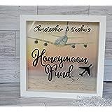 Honeymoon Fund Money Box Frame Persoanlised Engagement Present Gift, Wedding Decor
