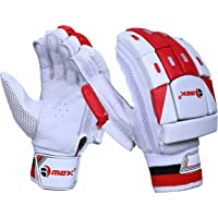 RMAX Unisex Leather & PVC Cricket Batting Gloves (Senior, Right Hand, White Red)