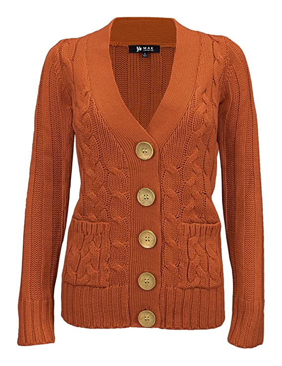 1940s Sweater Styles YEMAK Womens Long Sleeve Button Down Two Pocket Cable Knit Casual Cardigan Sweater $32.95 AT vintagedancer.com
