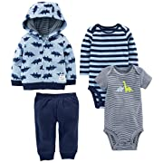 Simple Joys by Carter's Baby Boys' 4-Piece Fleece Jacket Set, Blue Dino, 3-6 Months