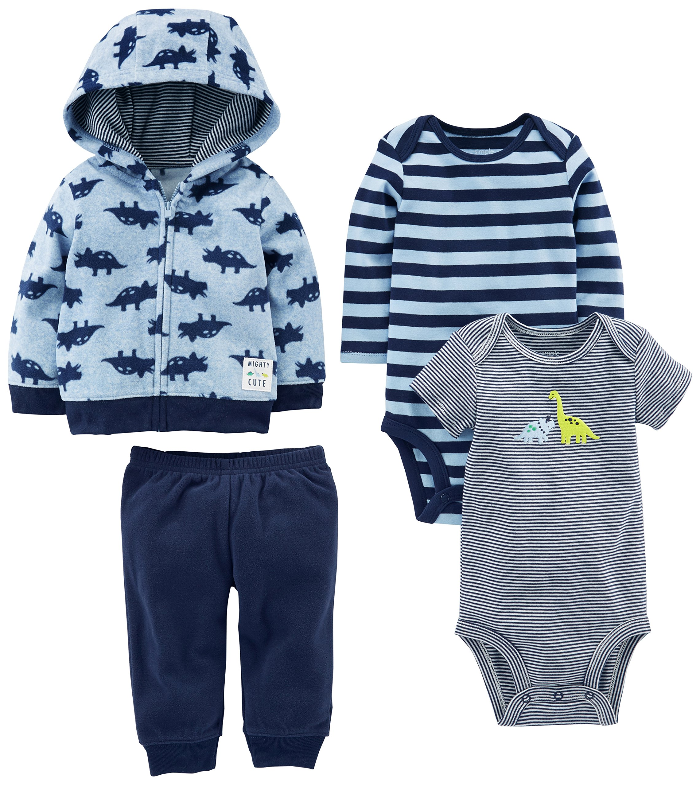 Simple Joys by Carter's Baby Boys' 4-Piece Fleece Jacket Set, Blue Dino, 6-9 Months