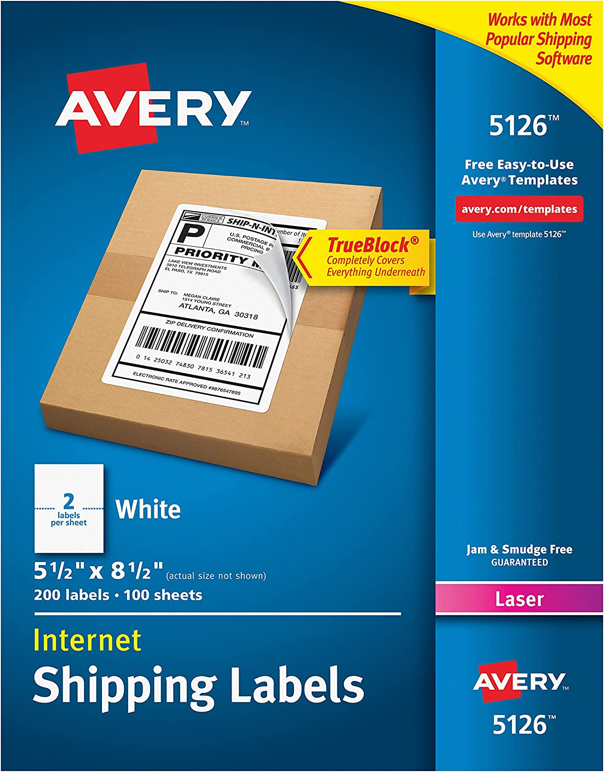 Avery 5126 Shipping Address Labels, Laser Printers, 200 Labels, Half Sheet Labels, Permanent Adhesive, TrueBlock, White : Office Products