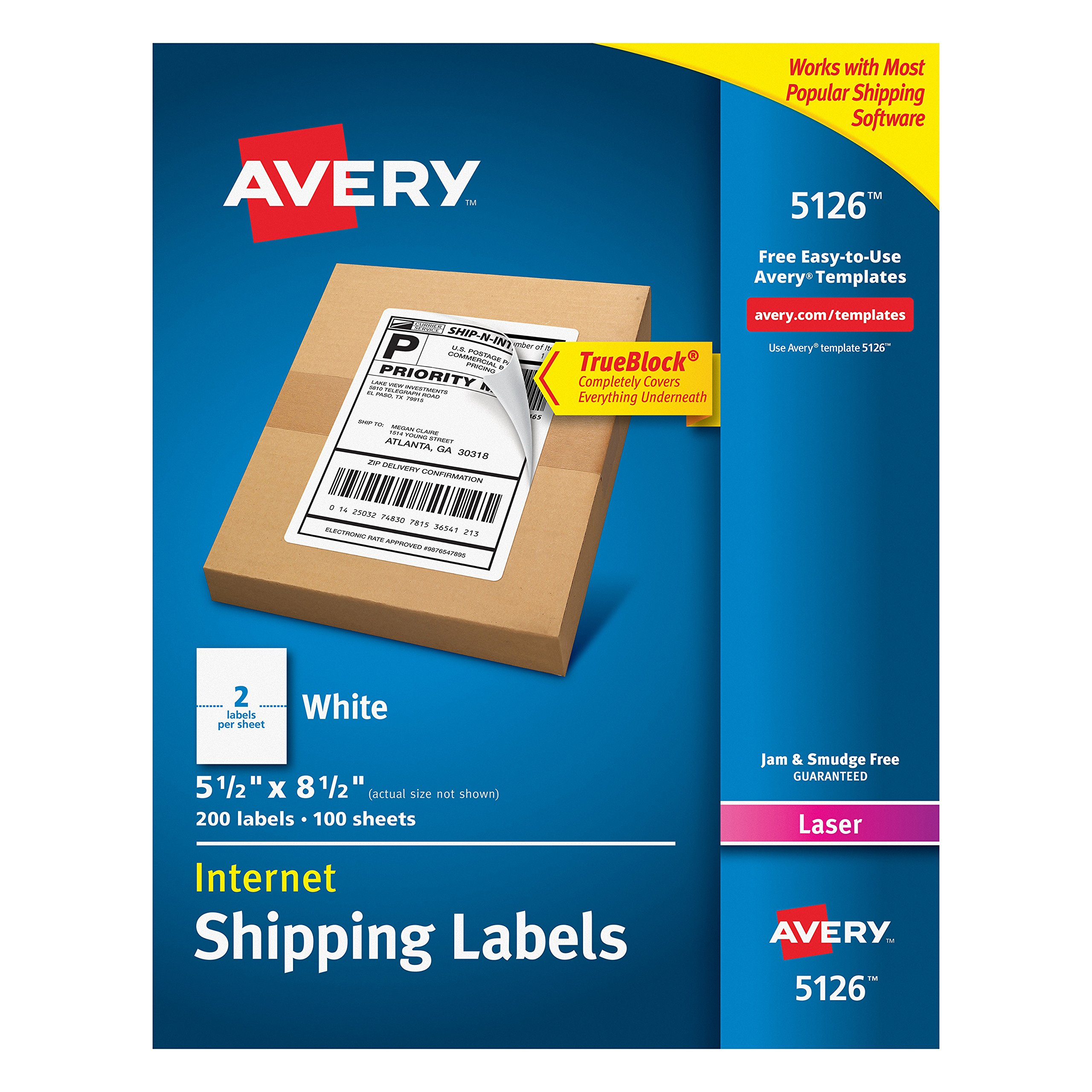 Avery Shipping Address Labels, Laser Printers, 200 Labels, Half Sheet Labels, Permanent Adhesive, TrueBlock (5126), White by Avery