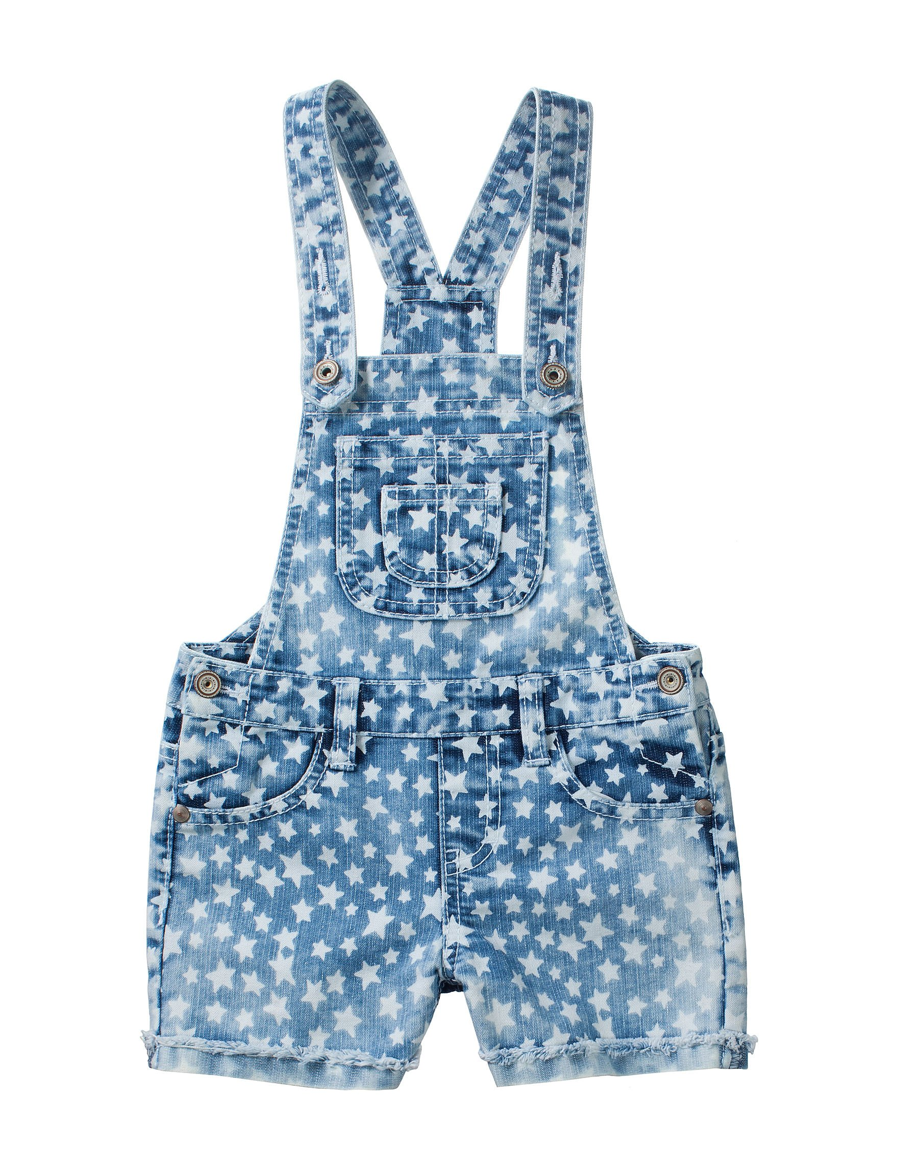 Squeeze Little Girls' Star Print Denim Shortalls (5)