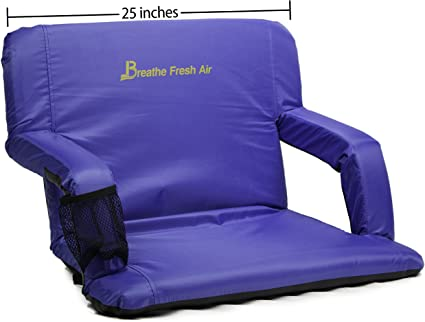 Perfect for Bleachers Lawns Adjustable and Waterproof Chair with Backpack Straps Memory Foam Stadium Bleacher Seat Extra Wide Foam Seat Foam Chair with Back and Armrest