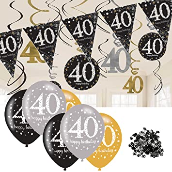 40th Birthday Decorations Black And Gold Bunting Balloons Hanging