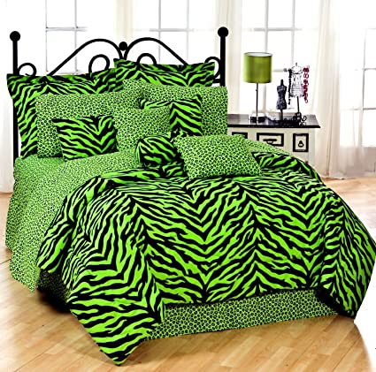Lime Green Zebra 8 Pc Queen Comforter Set One Matching Shower Curtain And