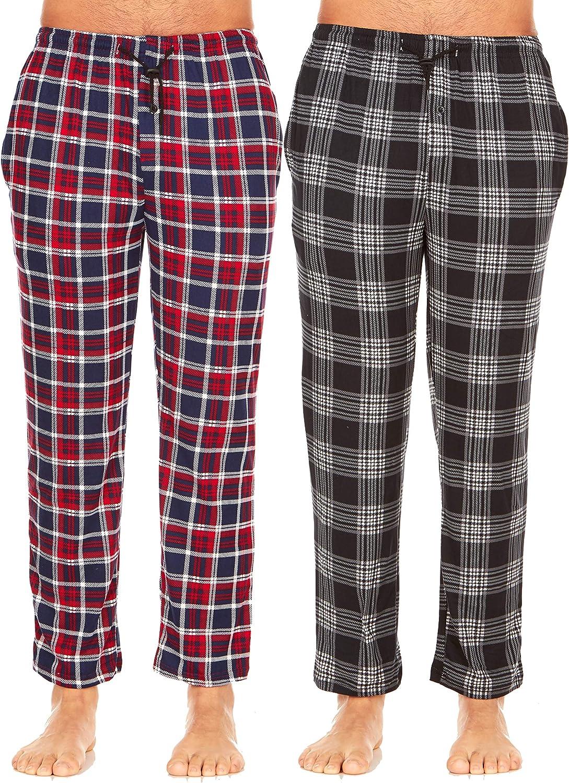 Men's Plaid Pajama Pants with Pockets Pack of 2 Fleece Lounge Pjs Bottoms