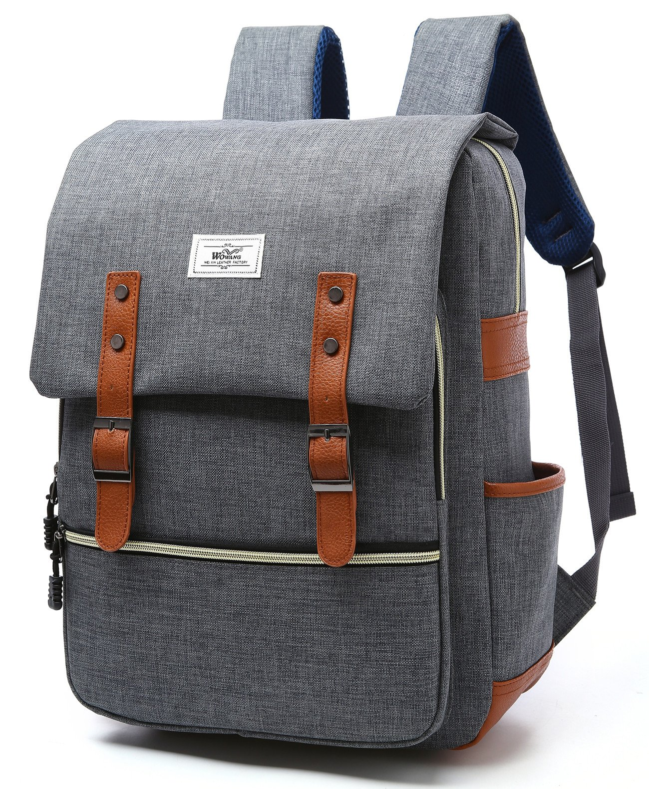 Vintage Travel/Business Laptop Backpack College School Student Bookbag For Boys Girls Men & Women, Water Resistant Casual Daypacks Outdoor Sports Bag Fits 15.6'' Laptop & Notebook,Grey