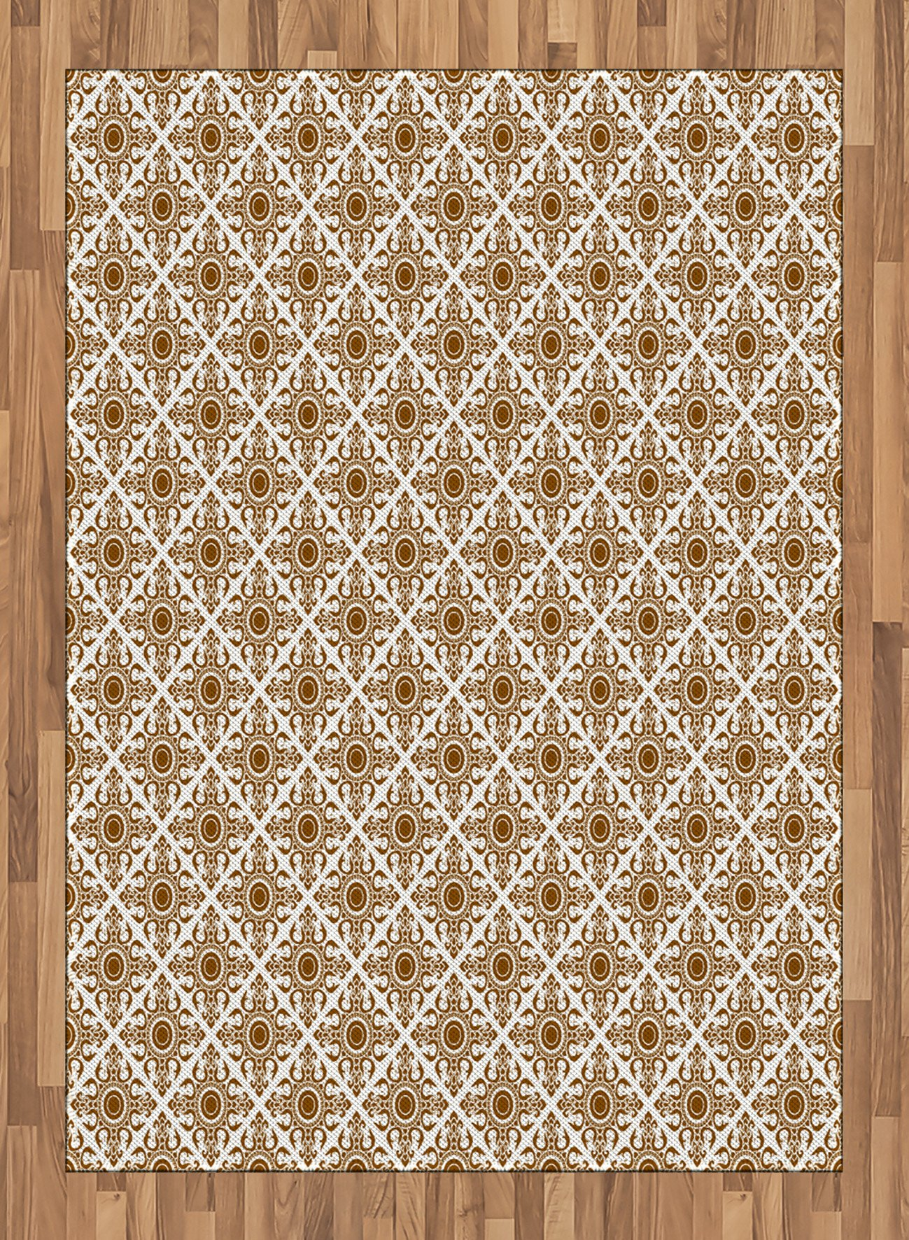 Ethnic Area Rug by Ambesonne, Thai Mosaic Art Culture Stylized Abstract Lines Dots Pattern Folk Asian Design, Flat Woven Accent Rug for Living Room Bedroom Dining Room, 5.2 x 7.5 FT, Redwood White