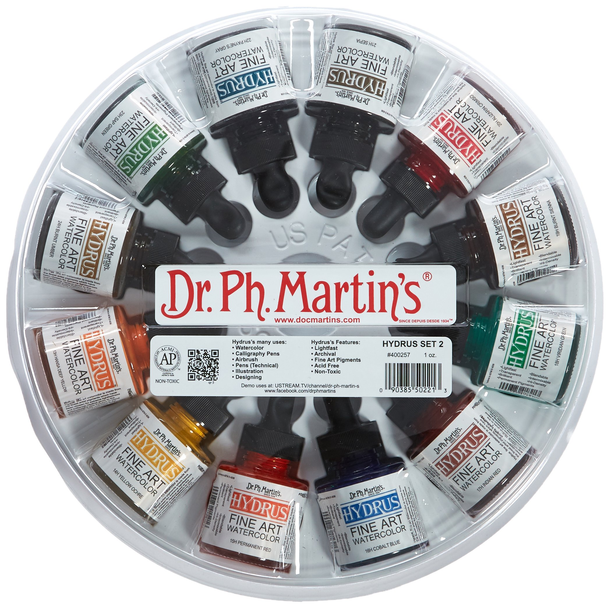 Dr. Ph. Martin's Hydrus Fine Art Watercolor Bottles, 1.0 oz, Set of 12