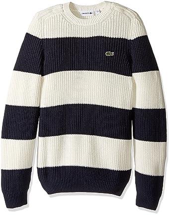 c11c371759 Lacoste Men s Long Sleeve Bold Stripe Crew Neck Sweater