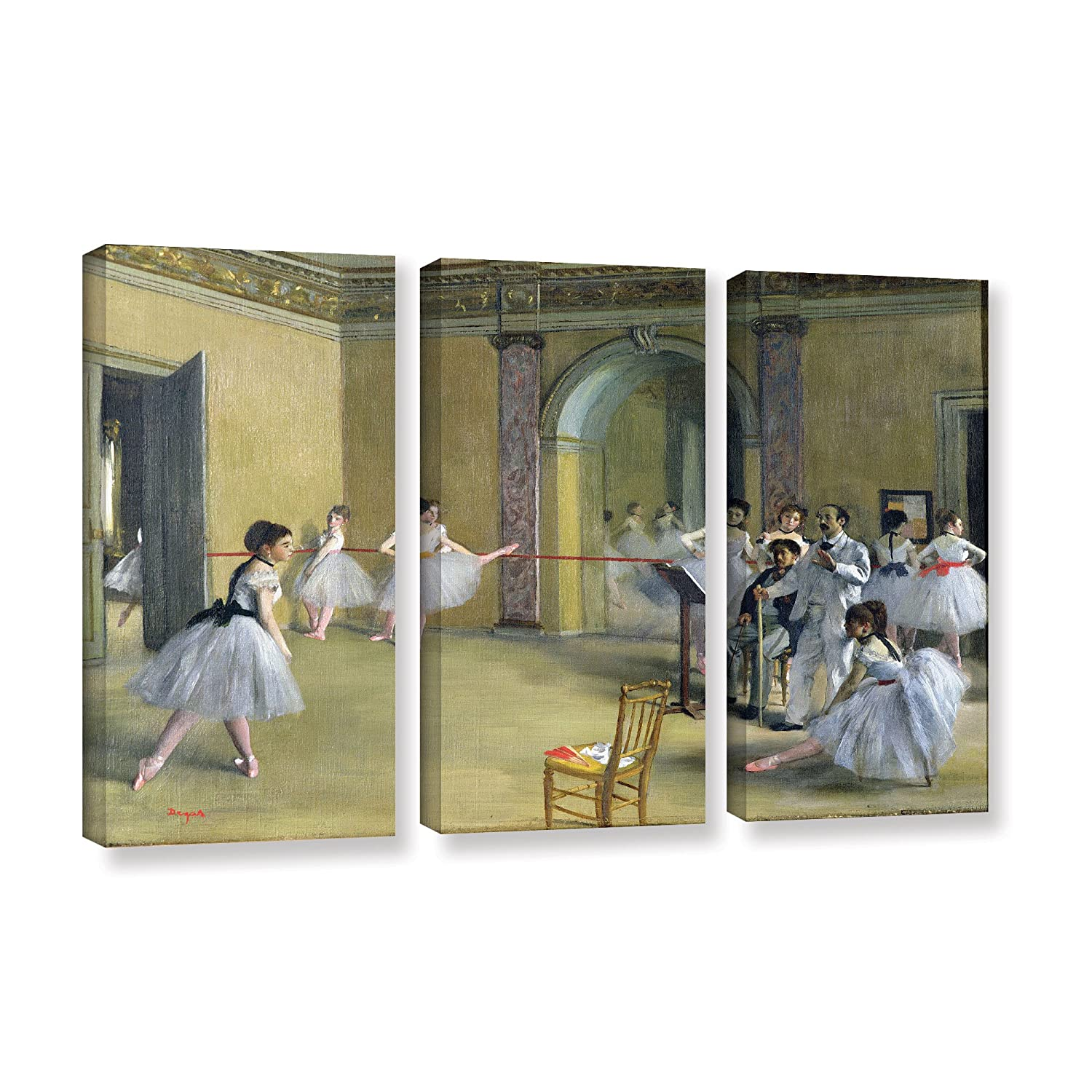 36 x 54 ArtWall Edgar Degass The Dance Foyer at The Opera on The Rue Le Peletier 3 Piece Gallery-Wrapped Canvas Set