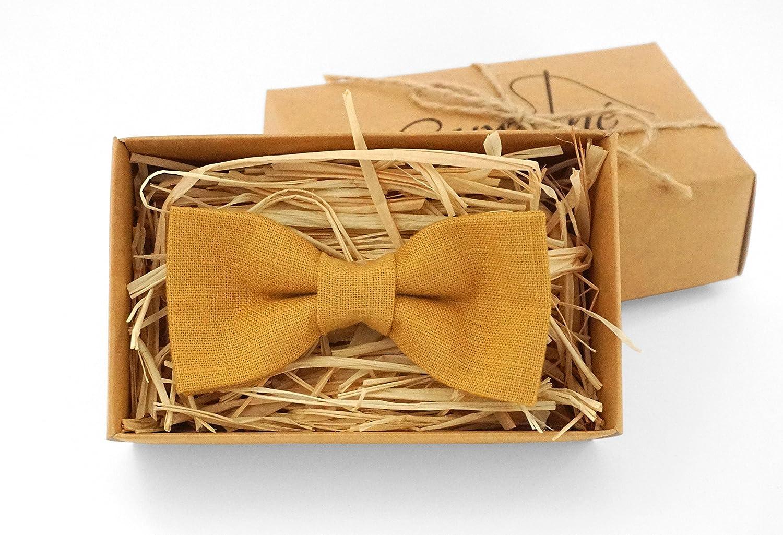 Mustard bow tie for men - Mustard linen bow tie ring bearer, groomsmen bow tie/ bow tie for men boys bow tie men tie mustard pocket square