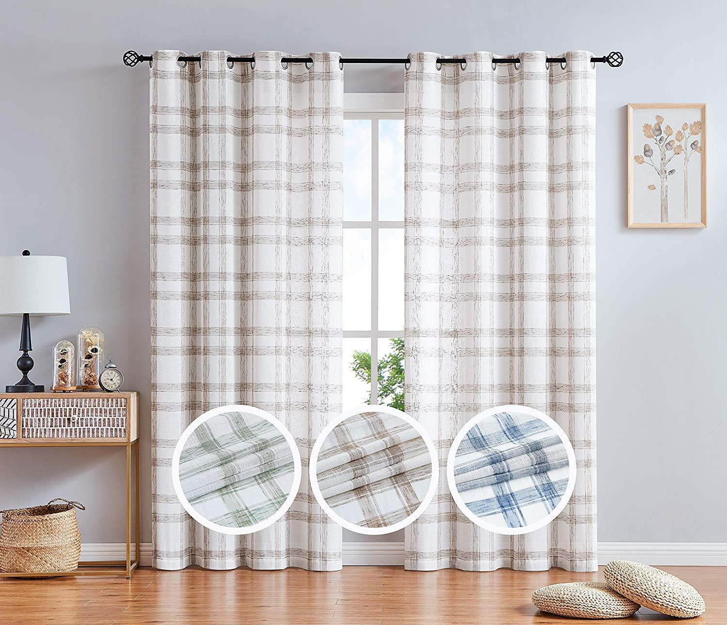 Linen Window Curtain Panel Pairs For Living Room 63 Long Geometric Check Grommets Top Semi Sheer Window Treatment Heavy Rustic Farmhouse Style Drapes For Bedroom 54 X63 X2 Brown White Amazon Ca Home Kitchen