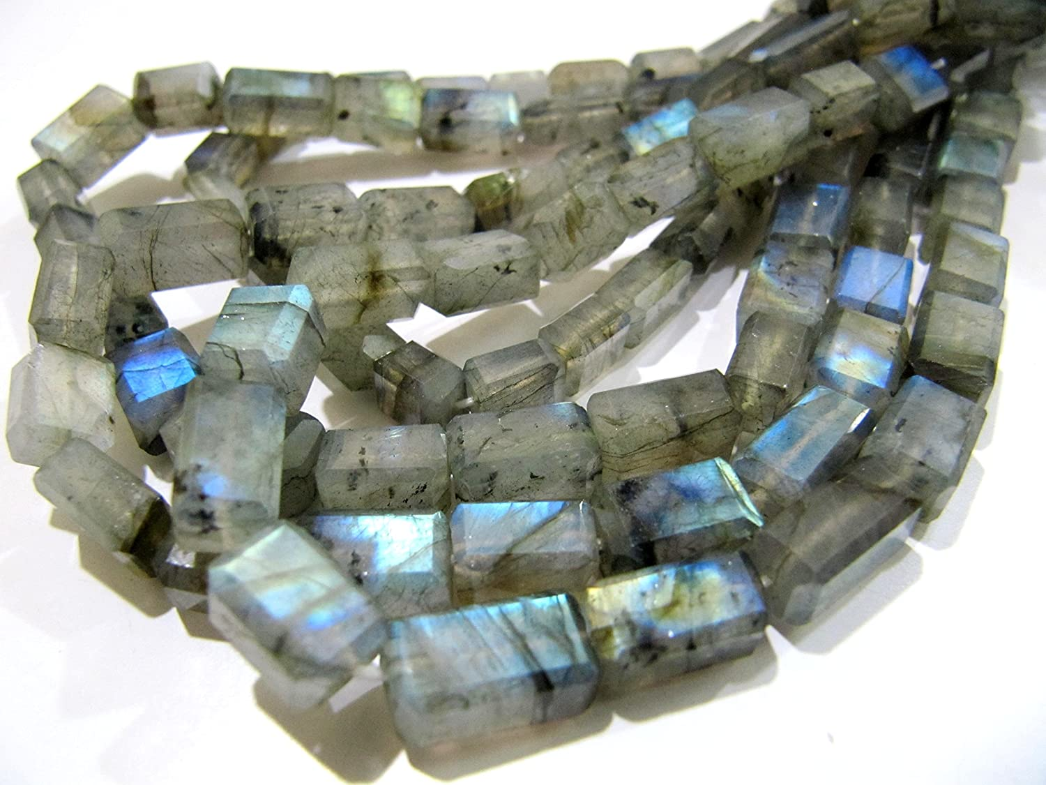 Natural Labradorite Blue Flashy Oval Faceted Beads 6x8 to 10x12mm Strand 13 Inch