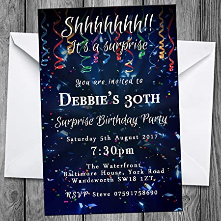 Surprise Confetti Party Invitations any age Personalised Birthday Invites Envelopes 100 B0746H3HQM