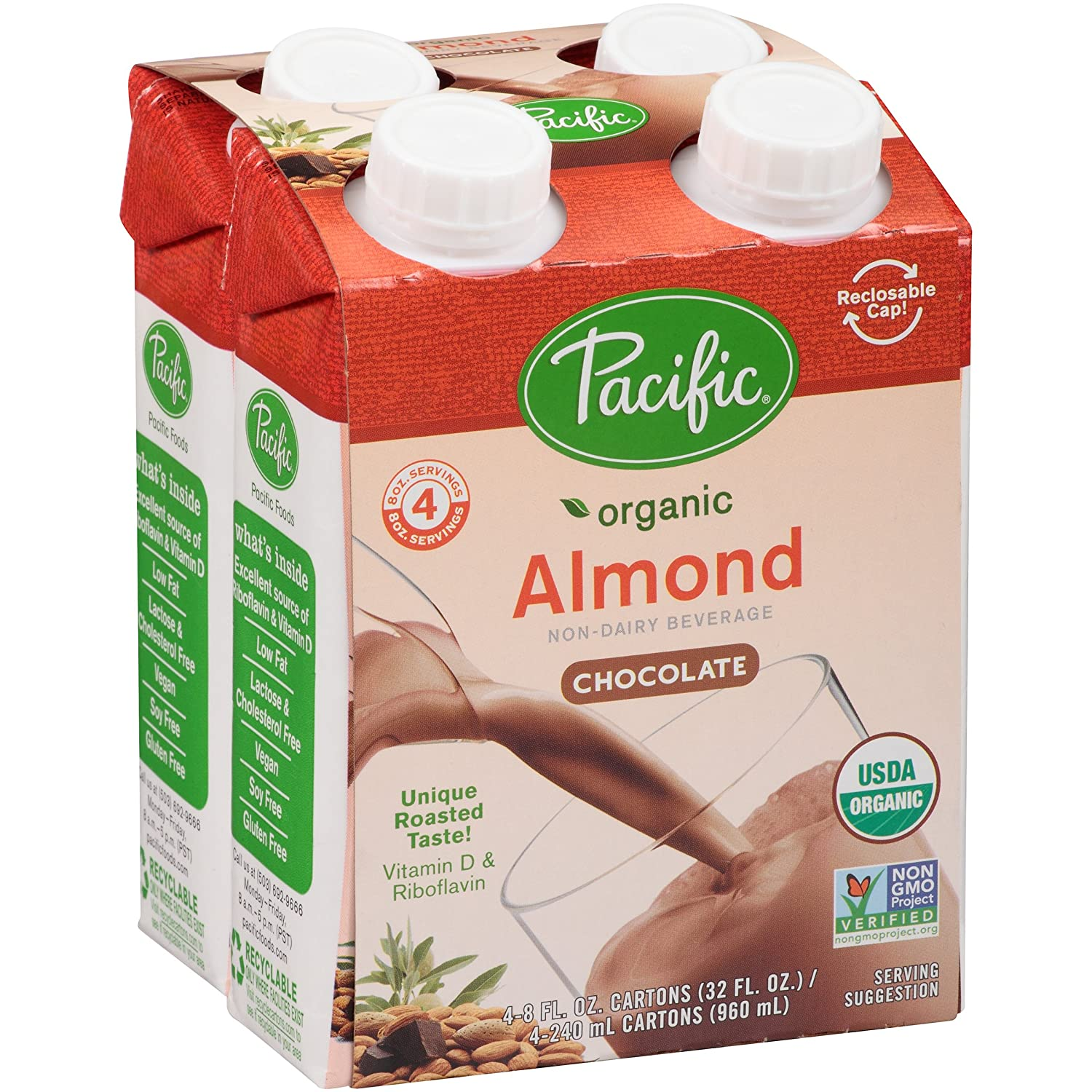 Pacific Foods Organic Almond Non-Dairy Beverage, Chocolate, 8 ...