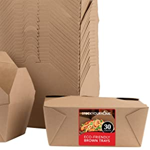 Microwavable Kraft Brown Take Out Boxes 112 oz (30 Pack) Disposable Food Containers - Recyclable Cardboard Lunch Box - Take Out Containers Disposable - to Go Boxes for Restaurants, Delivery, Catering