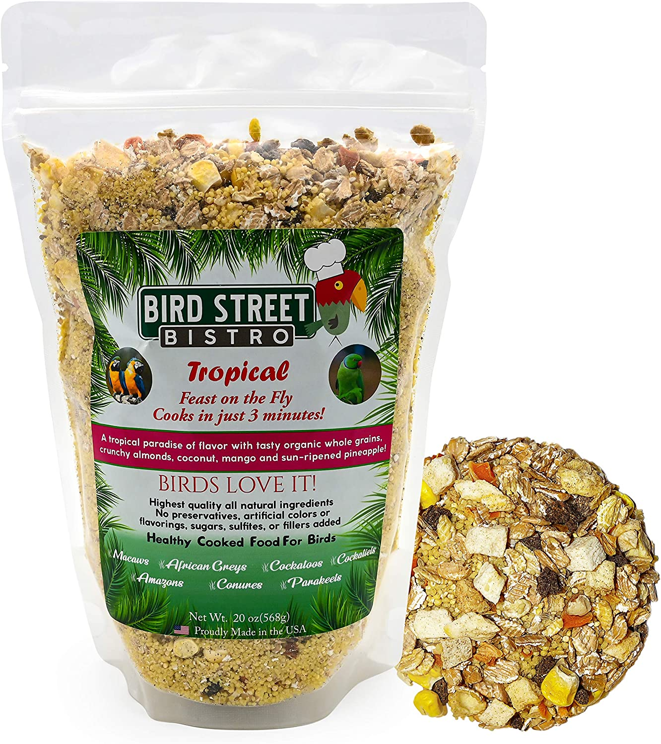 Bird Street Bistro Parrot Food Tropical | Cooks in 3 min. | All Natural & Organic Grains and Legumes, Healthy, Fruits, and Vegetables, Spices - No Fillers, Sugars, Sulfites (Large 20 oz.)