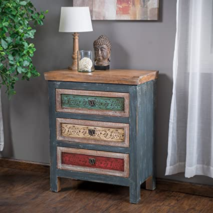 Exceptional Leo Solid Wood 3 Drawers Chest Cabinet In Weathered Multi Colored Finish