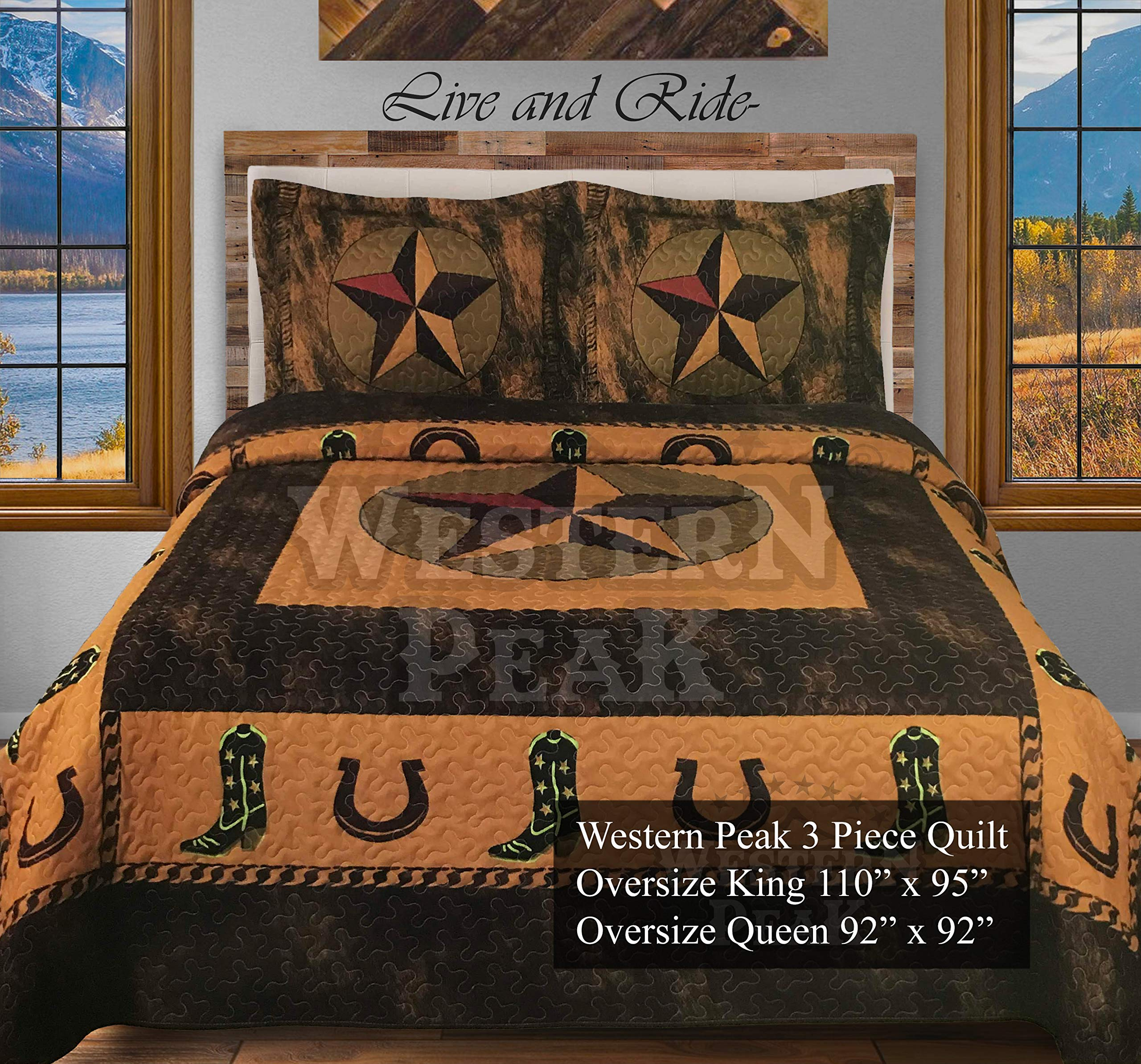 Western Peak 3 Pc Luxury Western Texas Cross Praying Cowboy Horse Cabin Lodge Quilt Bedspread OVERSIZE Comforter (Gold Cowboy, King)