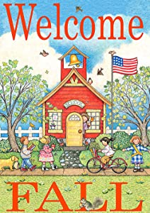 Toland Home Garden 1112193 Schoolhouse Welcome 12.5 x 18 Inch Decorative, Fall Autumn Back to School Teacher Child, Garden Flag