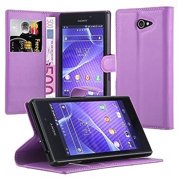 Cadorabo Carcasa para Sony Xperia M2 Aqua móvil en Manganeso púrpura Funda con Tarjetero y función Atril Case Cover Carcasa Funda Book Style Manganeso ...