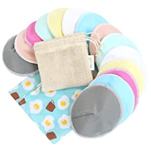 Bamboo Nursing Pads (14 Pack)+Laundry Bag & Travel Bag, Size: 4.7 inch Option - Contoured Washable & Reusable Breast/Breastfeeding Pads (Elegant, Large, Contoured Shape)