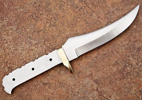 Whole Earth Supply Upswept Skinner D2 D-2 Steel Knife Blank Brass Finger Guard for Custom Making Knives Blade Blades Blanks Hunting