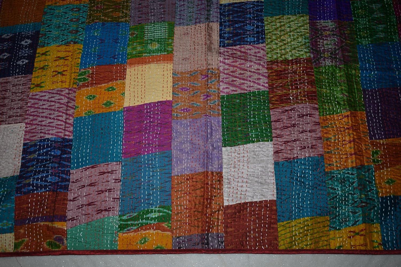 Beige Patchwork Tribal Asian Textiles Indian Patola Silk Patch Work Kantha Quilt Kantha Blanket Bedspread Twin Quilt