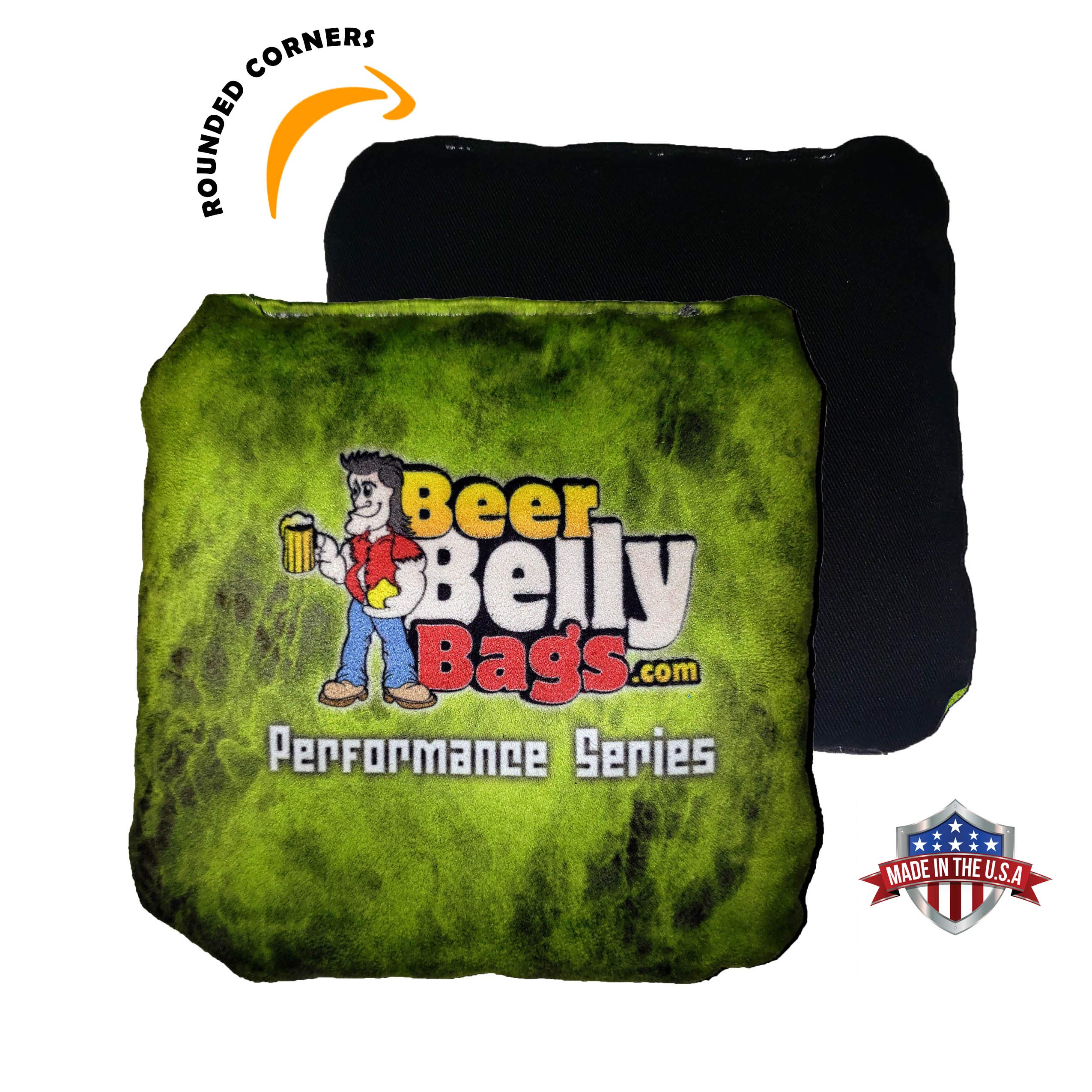 Beer Belly Bags Cornhole - Performance Series 4/pcs ACL Approved Resin Filled - Double Sided - Sticky/Slide Sides (Lime Fire) by Beer Belly Bags