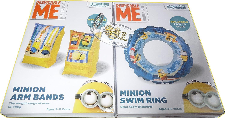 Despicable Me, Minion juego de natación inflables brazo bandas, flotador y llavero de taquilla: Amazon.es: Deportes y aire libre