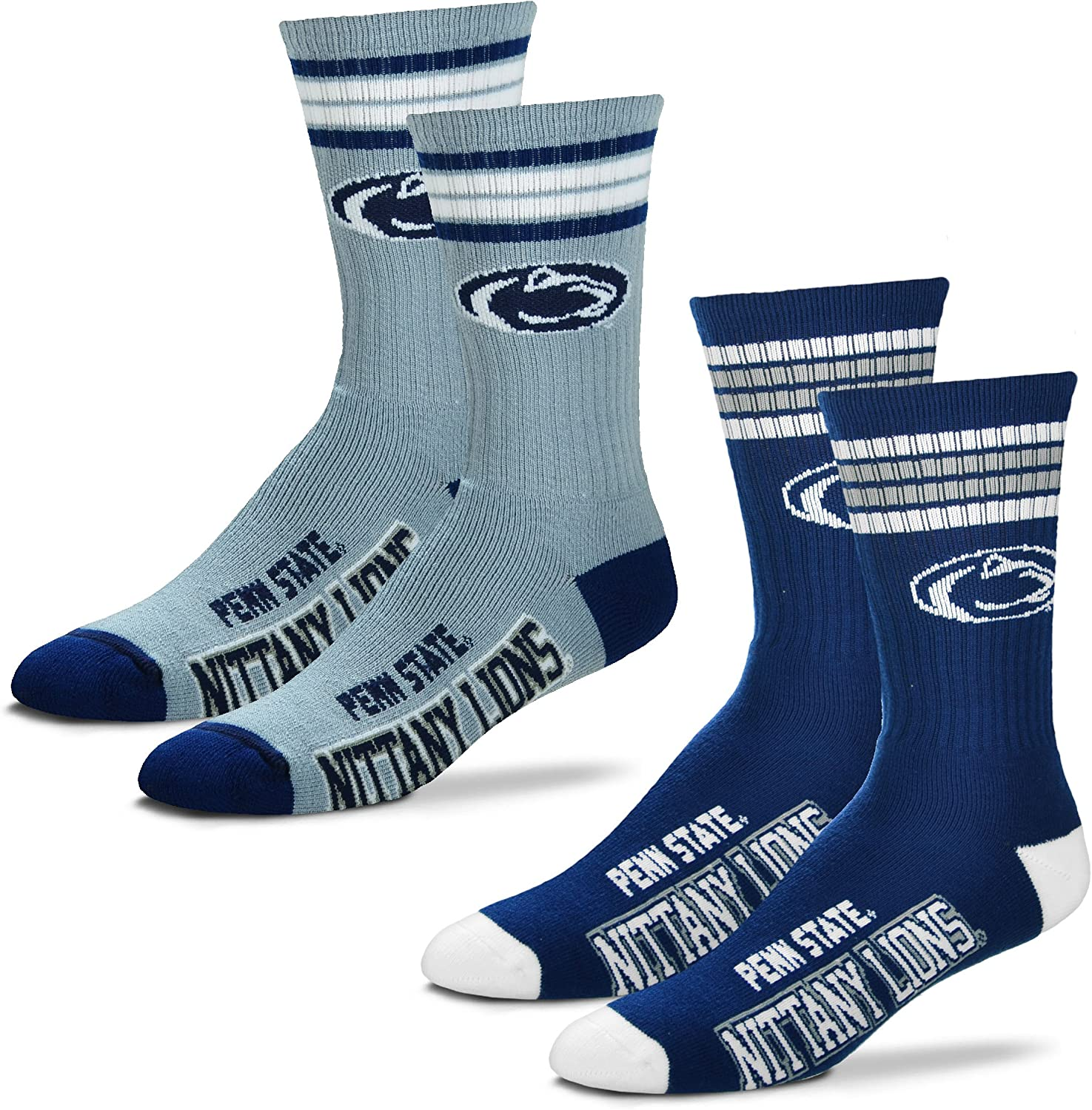 -4 Stripe Deuce Crew Socks-Size Large and Medium 2-Pack For Bare Feet Mens NCAA