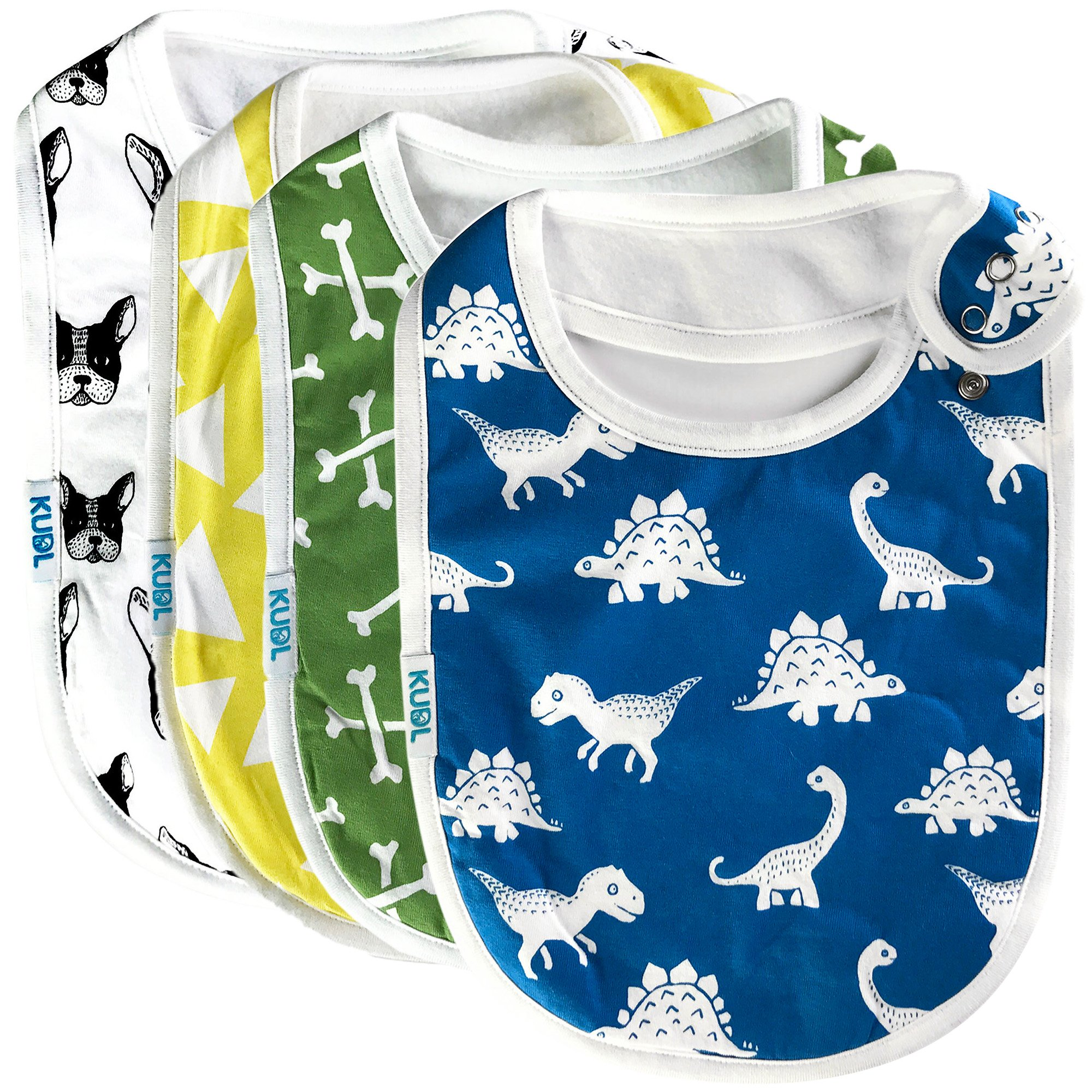 Premium Cute Baby Toddler Bibs Burp Burpy Cloths 4 Pack Gift Set Soft Absorbent Extra LARGE Feeding Reflux Drool Teething Bibs,Triple Adjustable Snap Buttons, Funny Boys & Girls