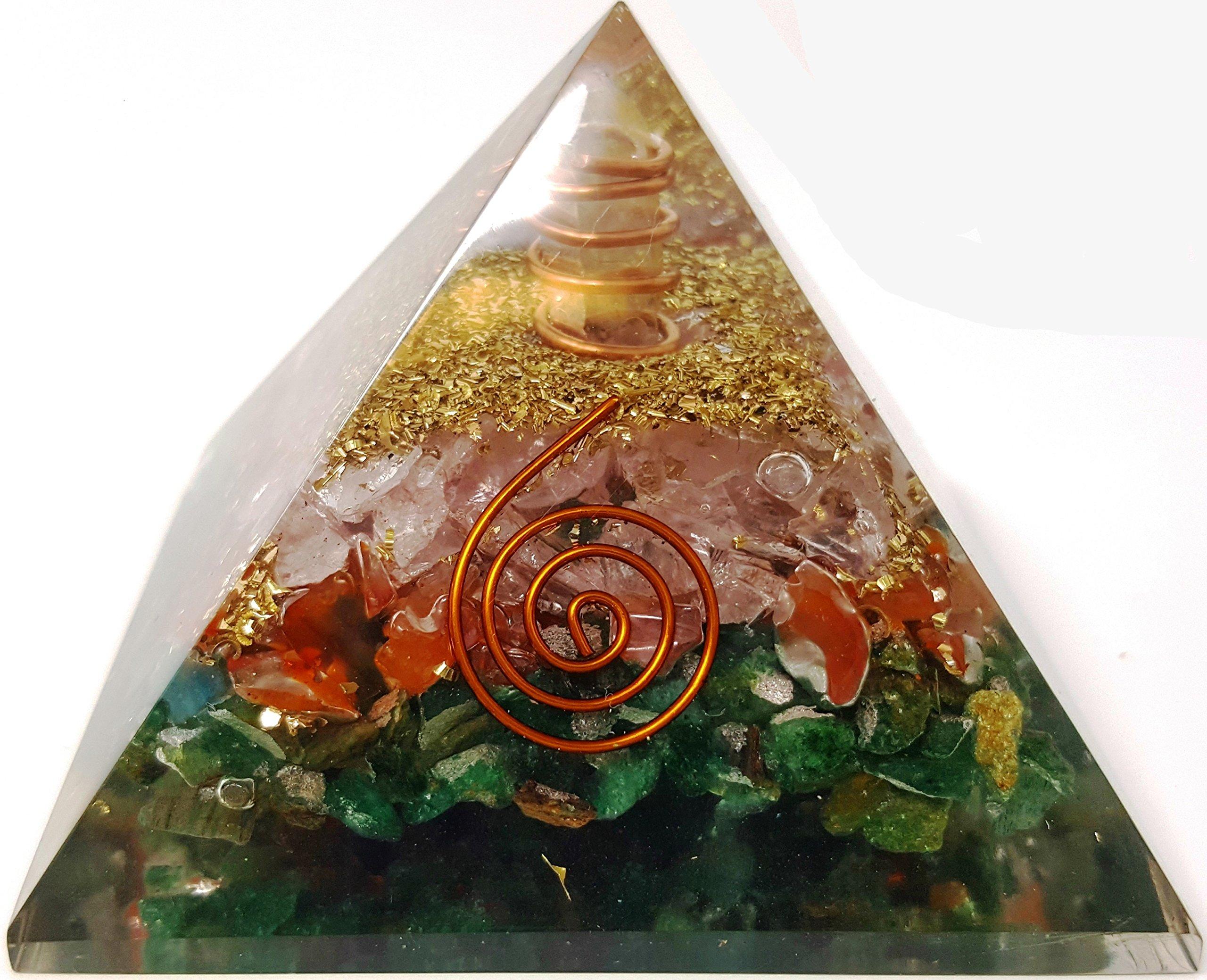Mixed Stone Crystal Orgone Pyramid/Includes 4 Crystal Quartz Energy Points/EMF Protection Meditation Yoga Energy Generator