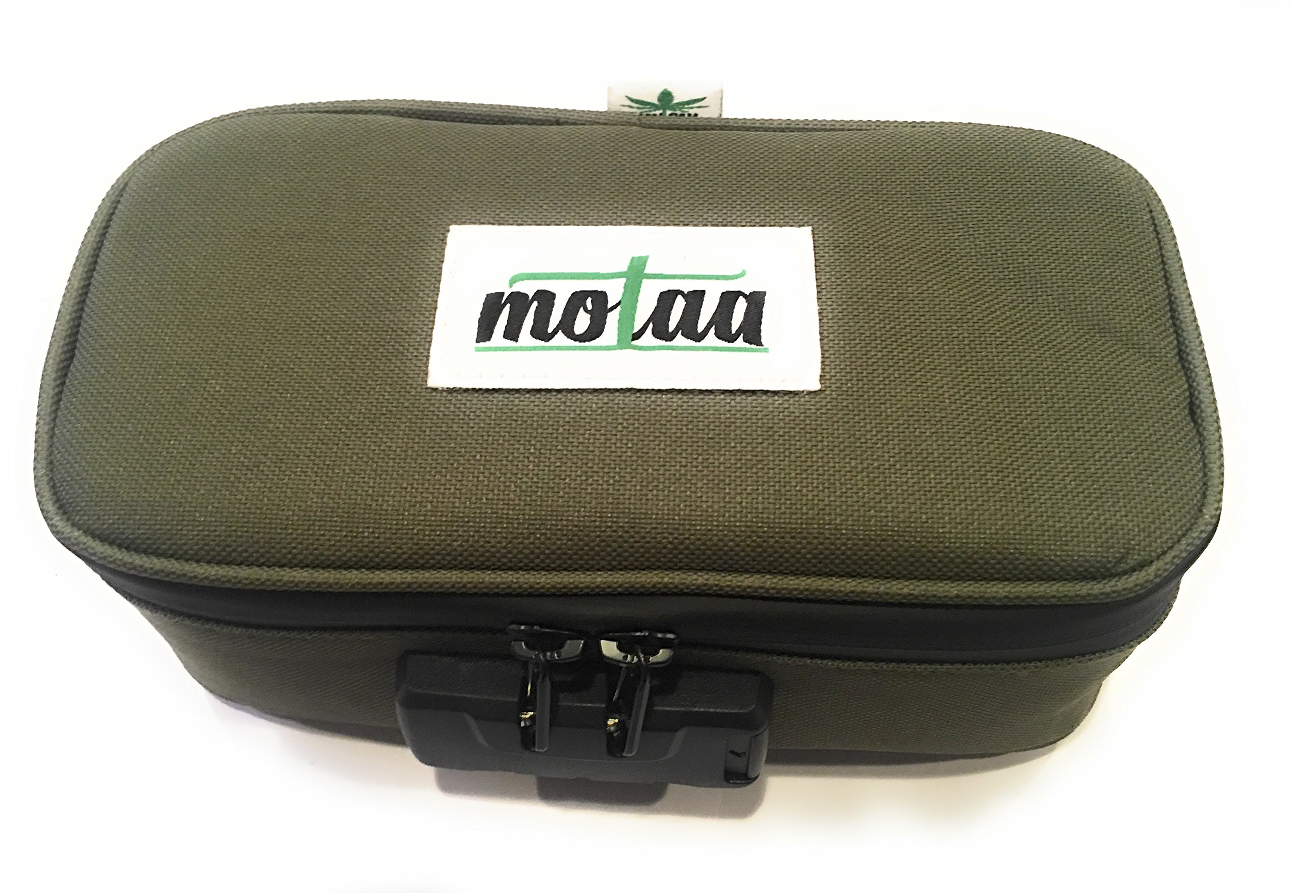 MOTAA Smell Proof case w/Combo Lock with Activated Carbon mesh Material, Includes a Bonus Incense Spoon (Dark Green) by VMC PRODUCTIONS
