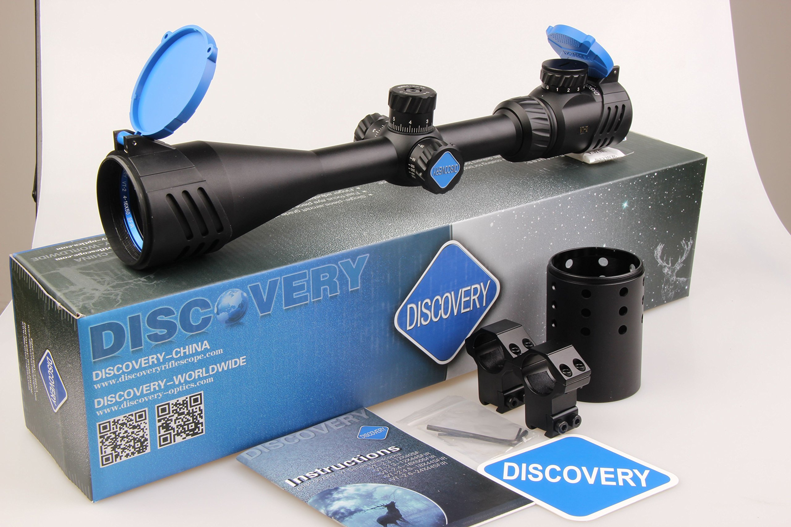 Discovery Tactical Rifle Scope 4-16X50 Gun Scope with Red & Green Mil-Dot Illuminated Range Finder Reticle and High Profile Scope Rings for Sports Hiking Hunting
