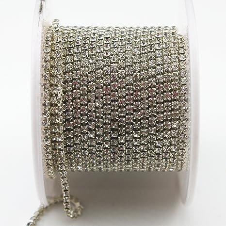 10 Yard Crystal Rhinestone Close Chain Trim Sewing Craft 2.5Mm SILVER Color AB
