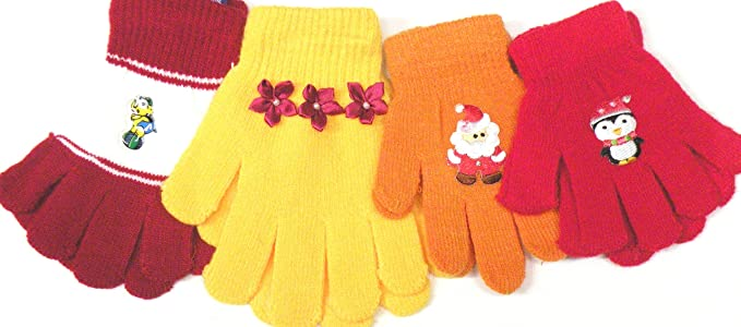 Baby Set of Four Pairs Stretch Magic Gloves for Infants Toddlers Ages 1-4 Years Gloves & Mittens