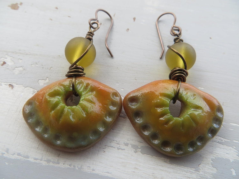 Silver Sea Polymer Clay earrings Dangle Drop Statement