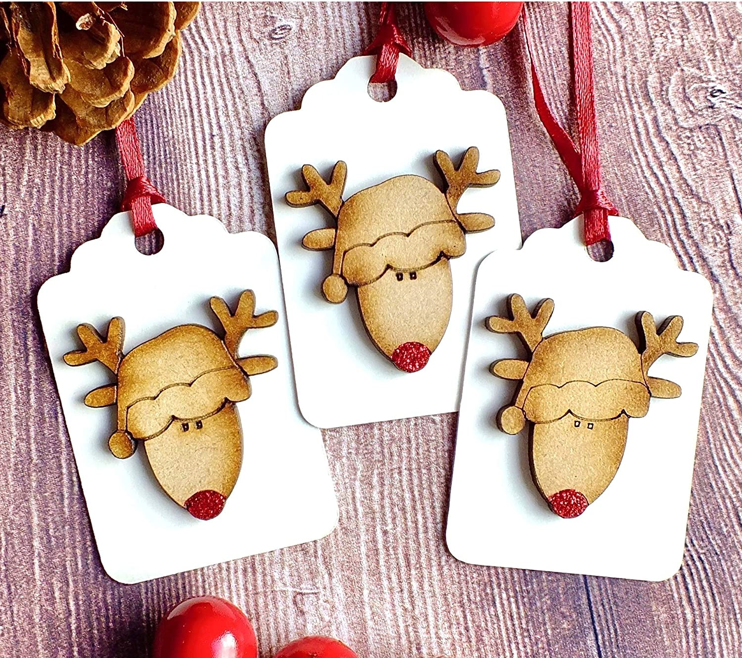 Christmas Gift Tags Handmade.3 X Luxury Wooden Christmas Gift Tags Rustic Handmade Cute Rudolph Reindeer Hang Tags Red