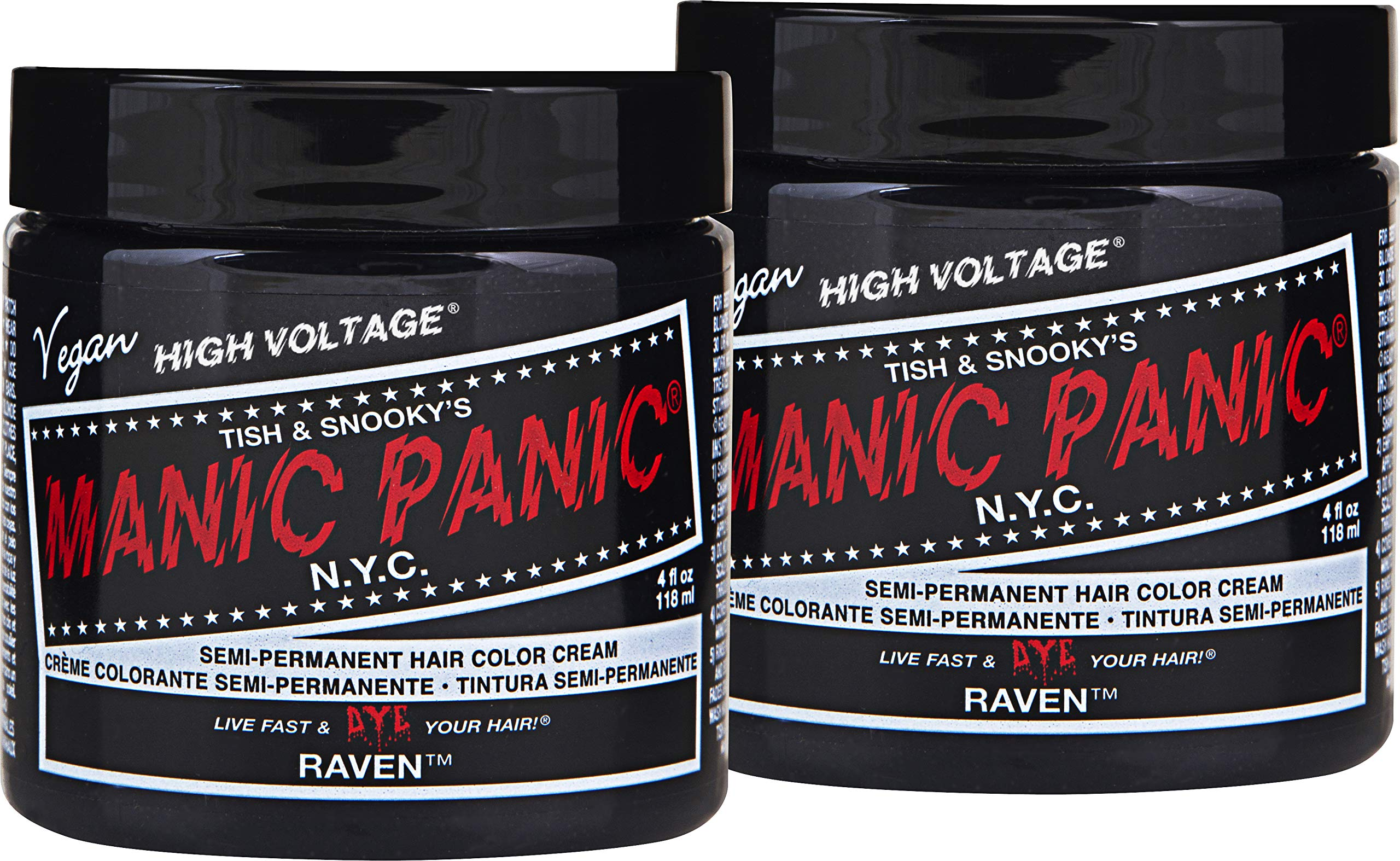 Manic Panic Raven Black Hair Color Cream (2-Pack) Classic High Voltage Semi-Permanent Hair Dye - Vivid, Black Shade - For Dark or Light Hair - Vegan, PPD & Ammonia-Free - Ready-to-Use, No-Mix Coloring by MANIC PANIC