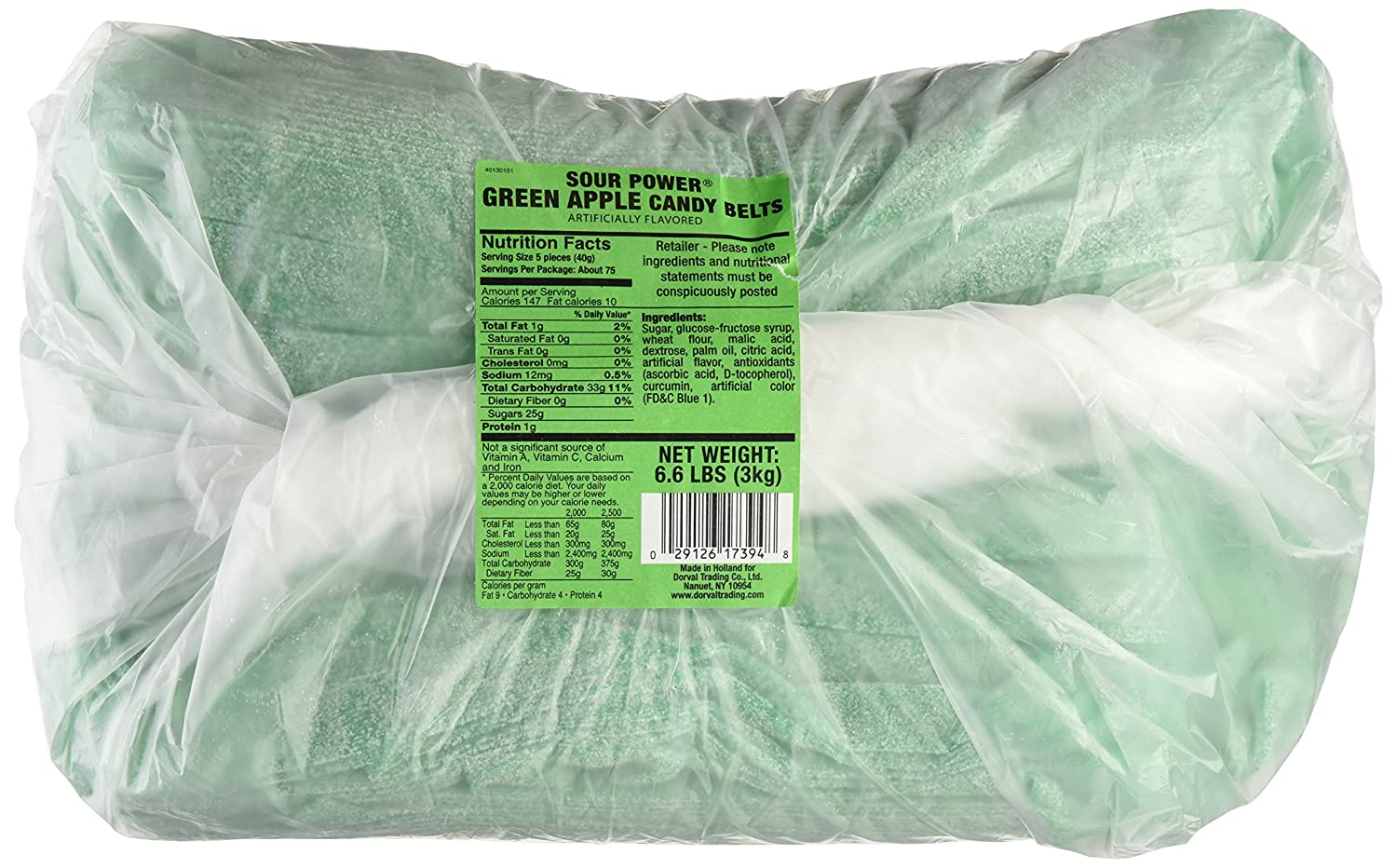 Sour Power Unwrapped Belts, Green Apple (approximately 297-count,unwrapped) Belts, 6.6-Pound Package, 105.6 Ounce