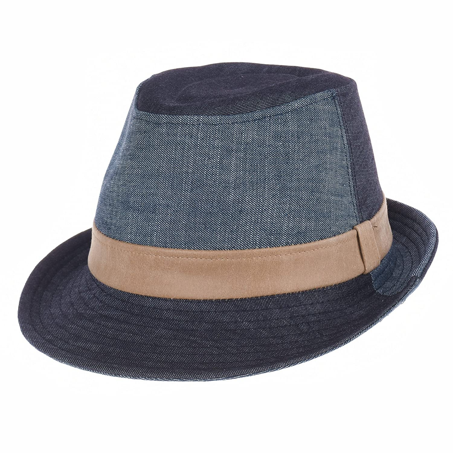 WITHMOONS Denim Cotton Fedora Hat Faux Leather Band LD3279