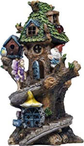 TERESA'S COLLECTIONS 12.8 Inch Spiral Stair Fairy House Garden Statues with Solar Powered Tree House Garden Lights Figurines for Outdoor Patio Yard Decorations (Resin)