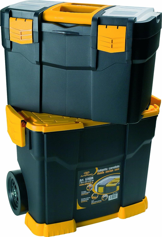Art Plast 6700R+3060 Caisse /à outils /à roulettes en plastique avec lot de valises caisses /à outils assorties Noir//jaune//transparent