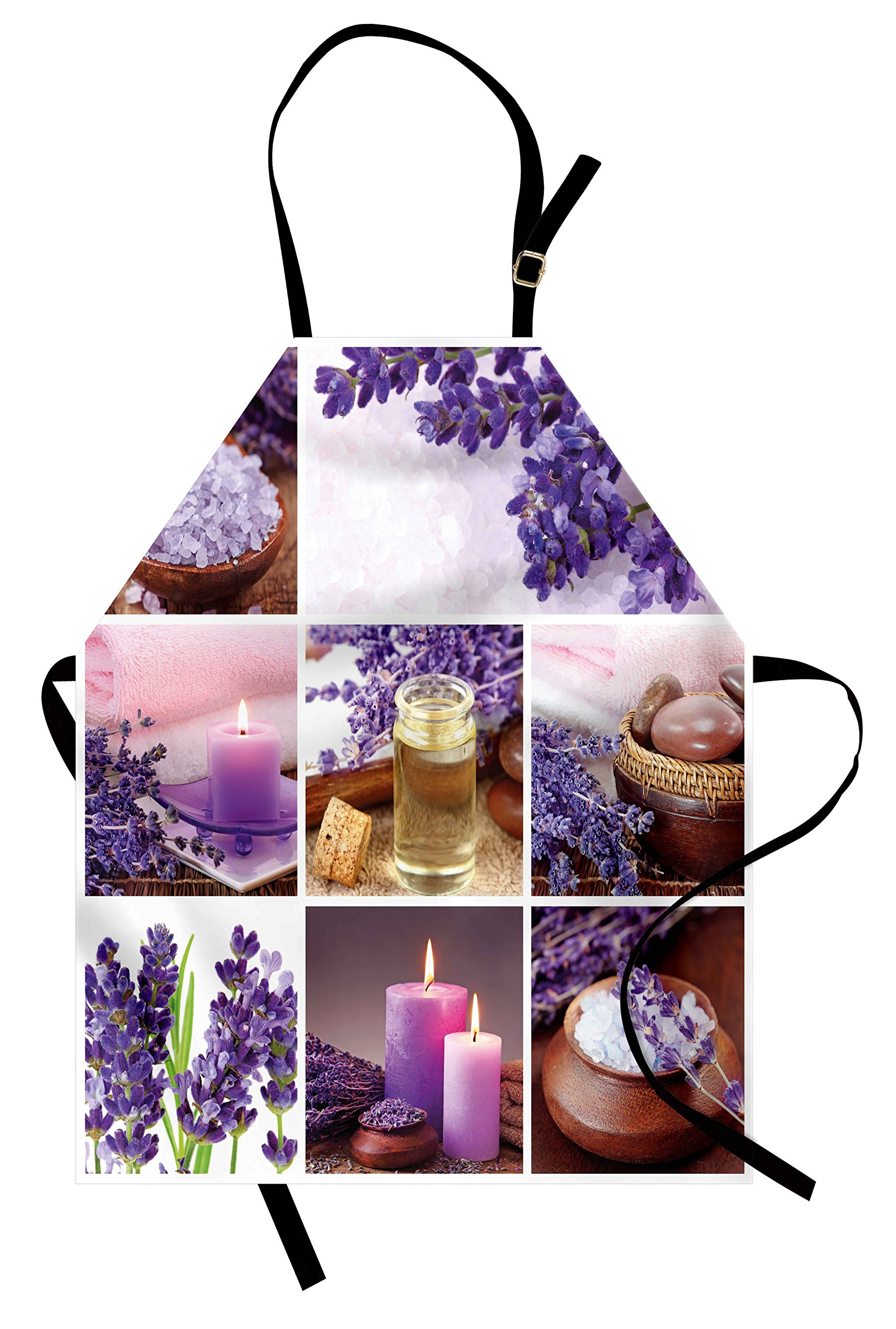 Lunarable Spa Apron, Lavender Garden Alike Themed Relaxing Candles Stones Herbal Salt Elements Image, Unisex Kitchen Bib Apron with Adjustable Neck for Cooking Baking Gardening, Purple and White