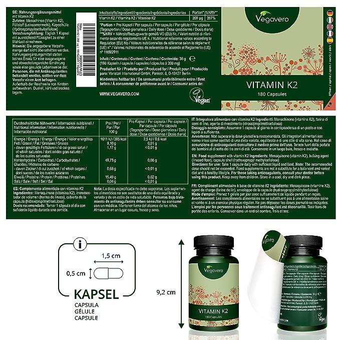 Vitamina K2 Vegavero | Origen Vegetal: del Natto | 180 Cápsulas de 200 mcg | Huesos + Calcio + Salud Cardiovascular | MK7 | Vegano: Amazon.es: Salud y ...